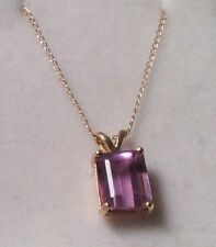 14k GENUINE AMETHYST  EMERALD CUT PENDANT /18 INCH 14K CHAIN