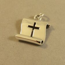 .925 Sterling Silver Cut Out CROSS ON SCROLL CHARM NEW Religion Pendant 925 FA45