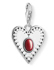 Thomas Sabo 1683-111-10 Herz roter Stein Charm Anhänger 925 Sterling Silber neu