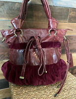 CYNTHIA ROWLEY Burgundy Red Velvet Handbag Purse