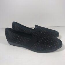 9.5 Aa Vtg 70s Slipper Metallic Dot Black Wedge Heel Shoe Hostess Lounge Euc
