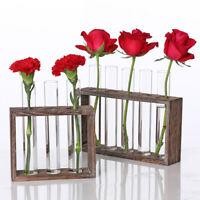 Vintage Wooden Frame Glass Hydroponic Test Tube Flower Vase Table Pot Ornament