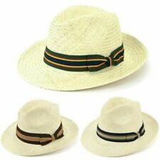 Hat Wide Brim Straw Panama Fedora Multi-coloured Band Summer Sun Holiday