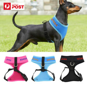 Personalised No Pull Dog Pet Mesh Harness Vest Collar with Customized Embroidery