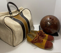Vintage Columbia 300 White Dot Bowling Ball series # 6O52586 with Bag and Shoes