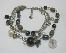 Lovely triple strand silver chain bracelet various beads approx 7 ins long