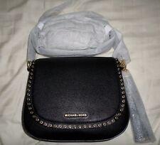 NWT Michael Kors BROOKLYN Medium Saddle Bag Black Leather 30F6ABNM8L