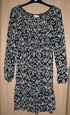Wallis Black & Cream Chiffon Long Sleeve Dress / Top size S