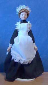 1/12, Dolls House Miniature Porcelain Maid Servant Doll, Kitchen bedroom BN LGW