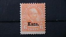 Sc# 664 MNH OG 1929  U.S.6c  Kans.OVERPRINT GARFIELD  ISSUE  CV$55    288A7