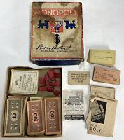 Vintage 1936 Era Parker Brothers Monopoly Game - NO BOARD - Pieces Cards Money