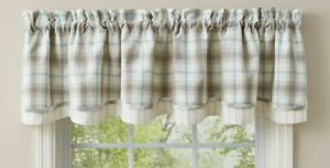 """1 Lake Livin White Blue Taupe Plaid Country Lined Layered Valance 72"""" x 16"""""""
