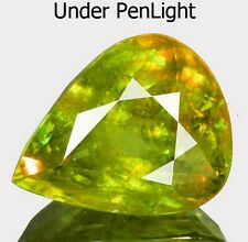5.99 cts Rare Huge Natural Pear-cut Flashing Green/Multicolor VS Sphene (Brazil)