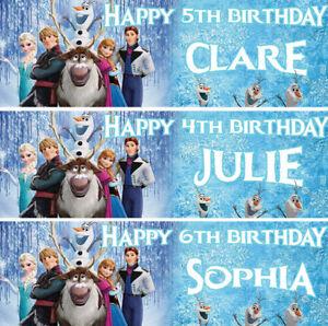 2 personalised FROZEN birthday banner children nursery kid party decoration