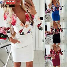 Women's Sexy Floral Bodycon Mini Dress Ladies Long Sleeve Evening Party Dresses