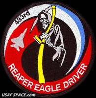 USAF 493rd FIGHTER SQUADRON -REAPER EAGLE DRIVER- RAF Lakenheath- ORIGINAL PATCH