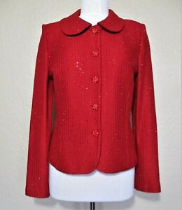 St. John Evening Jacket Size 8 Women red knit tiny crystals