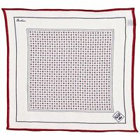 Corneliani Men's 100% Linen Pocket Square White Blue & Red Handkerchief Gift Him
