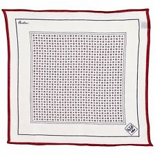 Corneliani Men's 100 Linen Pocket Square White Blue & Red Handkerchief Gift Him