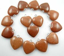 Beautiful Heart Gold sand stone agate pendant Gemstone LOOSE necklace