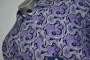 20075-a Mens Society of Threads New York Dress Shirt Size XL Purple Paisley