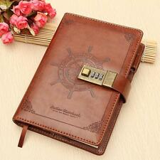 Vintage Brown Leather B6 Journal Wired Diary Note Book with a Password Code Lock