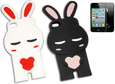 IPHONE 4 COVER BUMPER RUBBER ANIMAL BUNNY HEART BLACK PINK WHITE Y