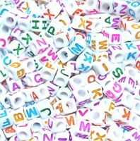 AAA alphabet colourful letter beads, 6 mm, white cube,  mixed & single  A, B...Z
