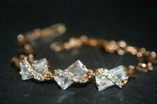 3 x Rectangle Created Diamond Rose Gold GF Bracelet 16-18.5cm/6.29-7.28Inches