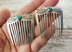 Vtg Old PAWN NAVAJO Stamped Sterling Silver TURQUOISE Hair Barrette Comb 2 LOT