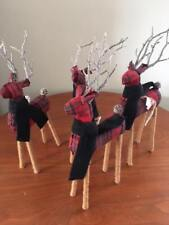 New Pottery Barn Plaid Reindeer Ornament Christmas Classic Rustic Woodsy