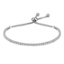 925 Argento Sterling classico bracciale tennis bianco CZ ciondolo gioielli da donna