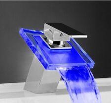 High-brightness LED Glass Waterfall Bathroom Mixer Tap Basin Sink Modern Faucet