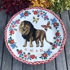 """Nathalie Lete Anthropologie Lion the King  10"""" Collector Plate  FREE US Ship"""