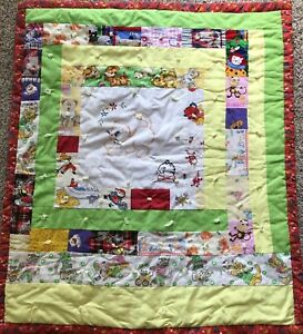 """Handmade Baby Crib Quilt Comforter Embroidered Cat Kitten Red Floral 32"""" X 38"""""""