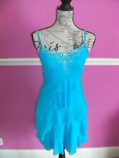 JANE NORMAN AQUA BLUE STRETCH BODYCON TIERED  MINI DRESS diamante trim 14 12 10