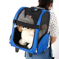 Pet Luggage Box Carrier Cat Dog Backpack Rolling Wheel w/Removable Stand Blue