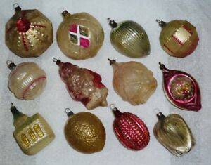 12 ANTIQUE X-MAS TREE ORNAMENTS: LEMON, ROSE, SANTA HOLDING TREE, GERMAN CHURCH