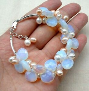 Blue Fire Opal and White Pink Pearl 18KWGP Link Clasp Cluster Bangle Bracelet