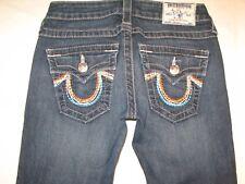True Religion Womens Straight Jeans Sz 25 Rainbow Flap Pocs Distressed
