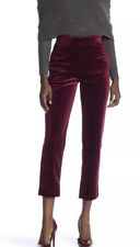 Romeo & Juliet Couture Womens Velvet Burgundy High Waist Ankle Pants Sz Med NWT