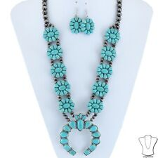 Silver Navajo Style Pearl Faux Turquoise Squash Blossom Necklace Earring Set