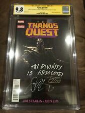 THANOS QUEST #1 CGC 9.8 SIGNED RON LIM & RARE QUOTE BY JIM STARLIN (MARVEL 2012)