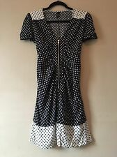Topshop Bow Print Black & White Monochrome V-neck Zip Dress Size 8