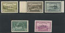 Canada 1949 KGVI Peace issue 'OHMS' overprint set #O6- O10 MNH