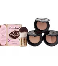 Too Faced Passport To Bronze 3 Deluxe Bronzers & Flatbuki Brush Set BNIB