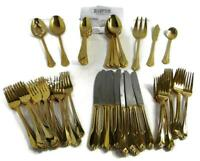 Hampton Stainless Steel 24kt Gold Plate Flatware, 12-Place Settings, Incomplete