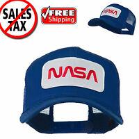 NASA Logo Embroidered Snapback Patched Mesh Back Baseball Cap Trucker Hat Blue