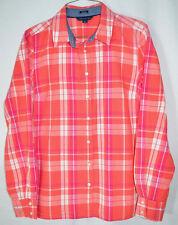 Tommy Hilfiger Classic Fit Blouse Button Front Coral/Pink Plaid Juniors/Misses M