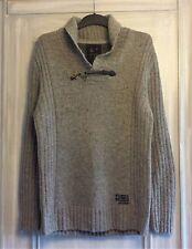 Mens River Island Jumper Sweater Knitwear Grey Shawl Collar size Medium